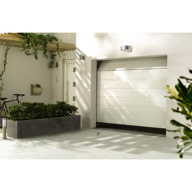 Porte de garage sectionelle motoris e hormann rainures horizontales 200x240 cm leroy merlin - Porte de garage hormann leroy merlin ...