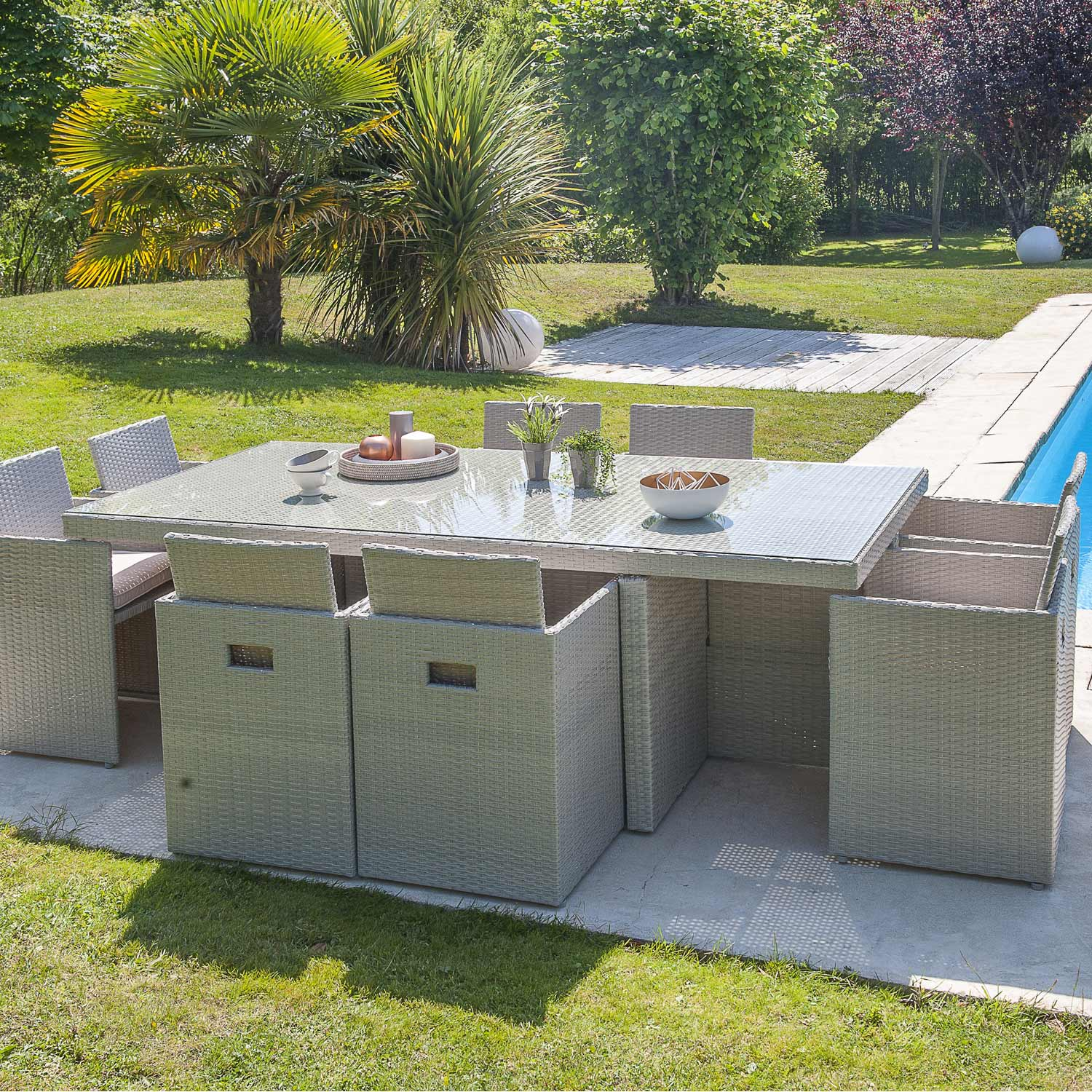 Salon de jardin encastrable r sine tress e gris 1 table for Balancines para jardin leroy merlin