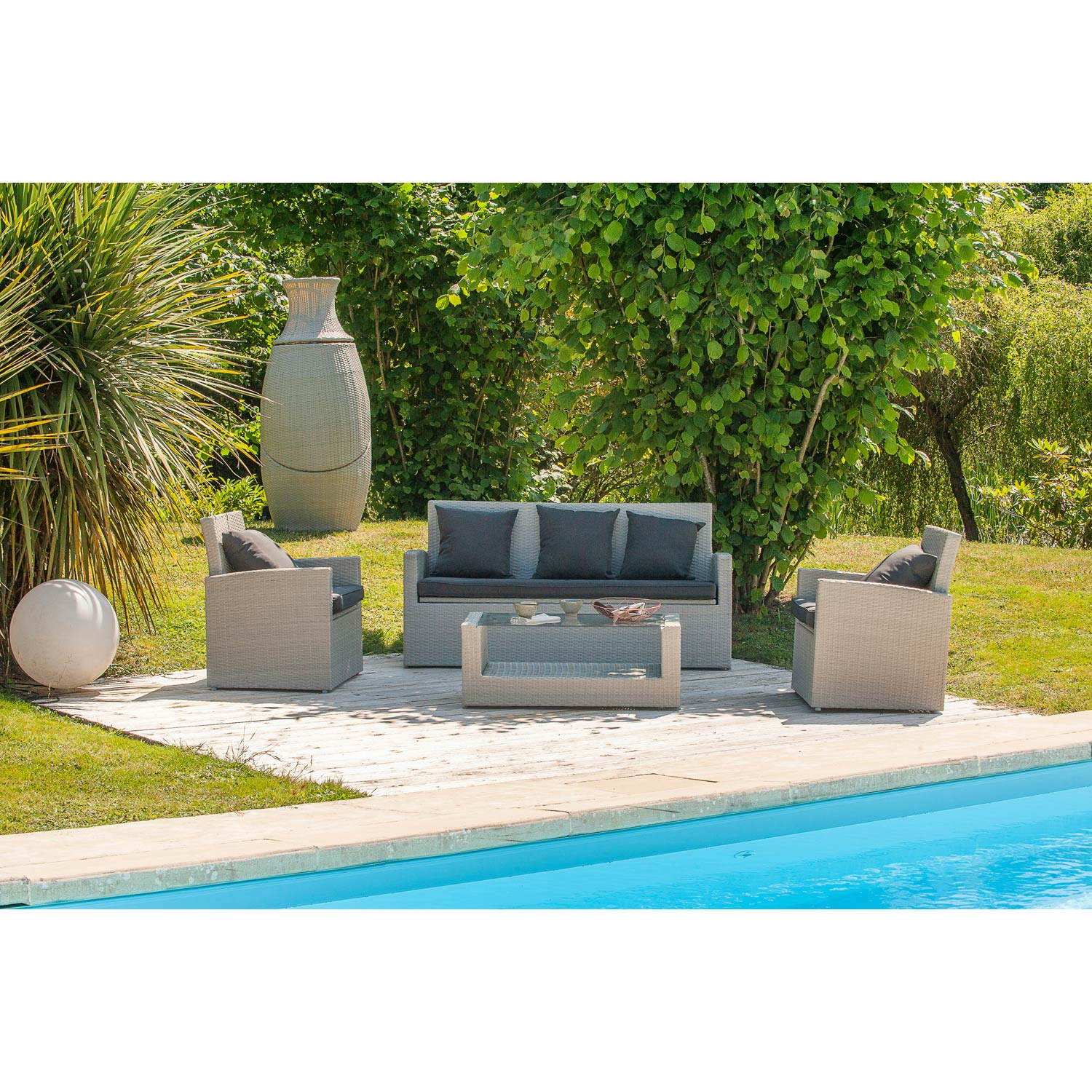 salon bas de jardin portovecchio r sine tress e gris table canap 2 fauteuils leroy merlin. Black Bedroom Furniture Sets. Home Design Ideas