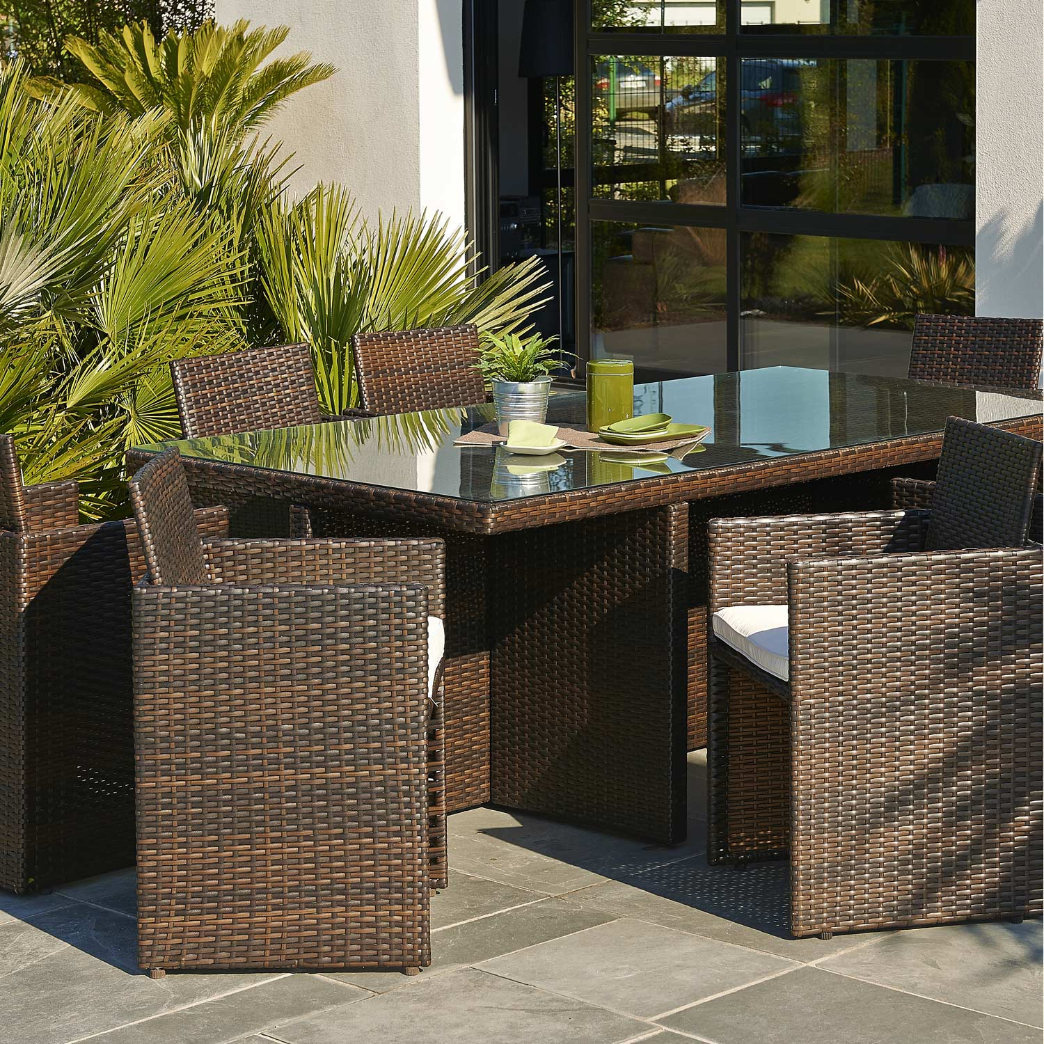 salon de jardin encastrable r sine tress e marron 1 table 8 fauteuils leroy merlin. Black Bedroom Furniture Sets. Home Design Ideas