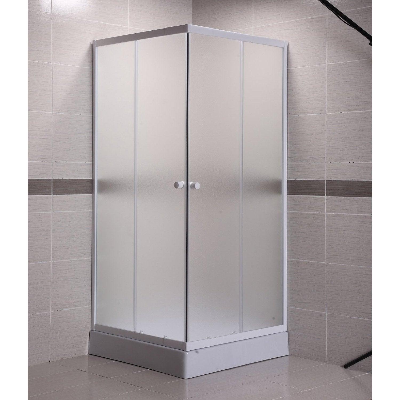Porte de douche coulissante primo verre granit blanc for Porte douche verre