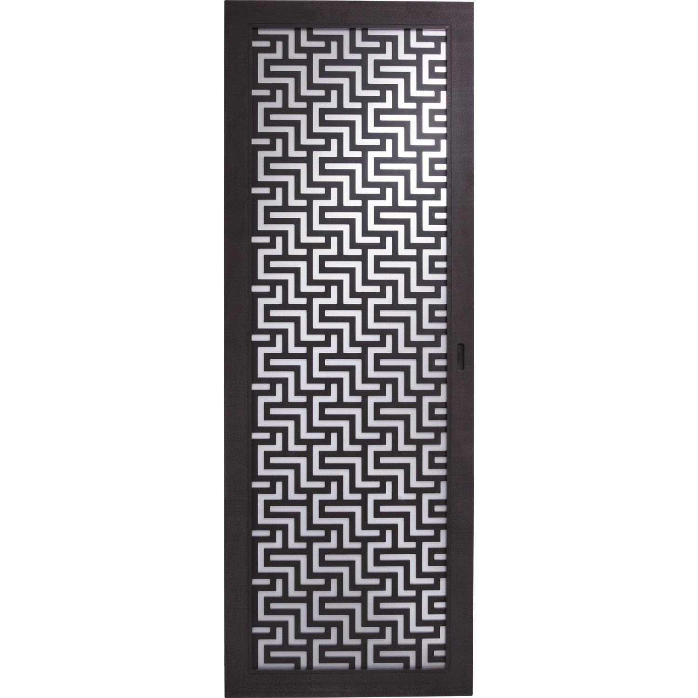 porte coulissante fr ne plaqu marron harry artens 204 x 73 cm leroy merlin. Black Bedroom Furniture Sets. Home Design Ideas