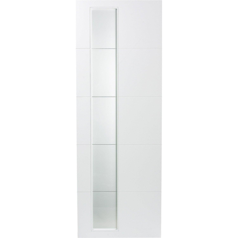 Porte coulissante rev tu blanc alaska artens 204 x 73 cm - Leroy merlin porte interieur ...