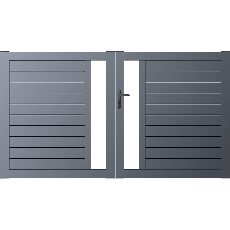 Portail battant aluminium mix it naterial gris zingu n 1 300x170cm ler - Portail battant aluminium leroy merlin ...