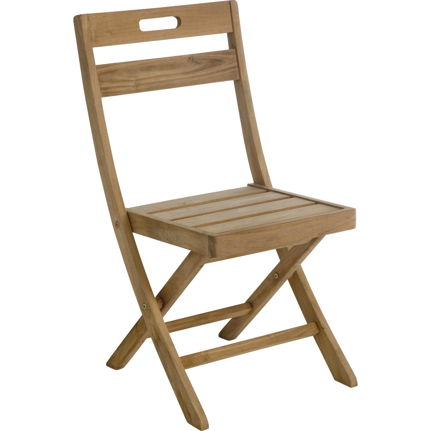Lot de 2 chaises de jardin en bois resort naturel leroy for Chaise balancoire jardin