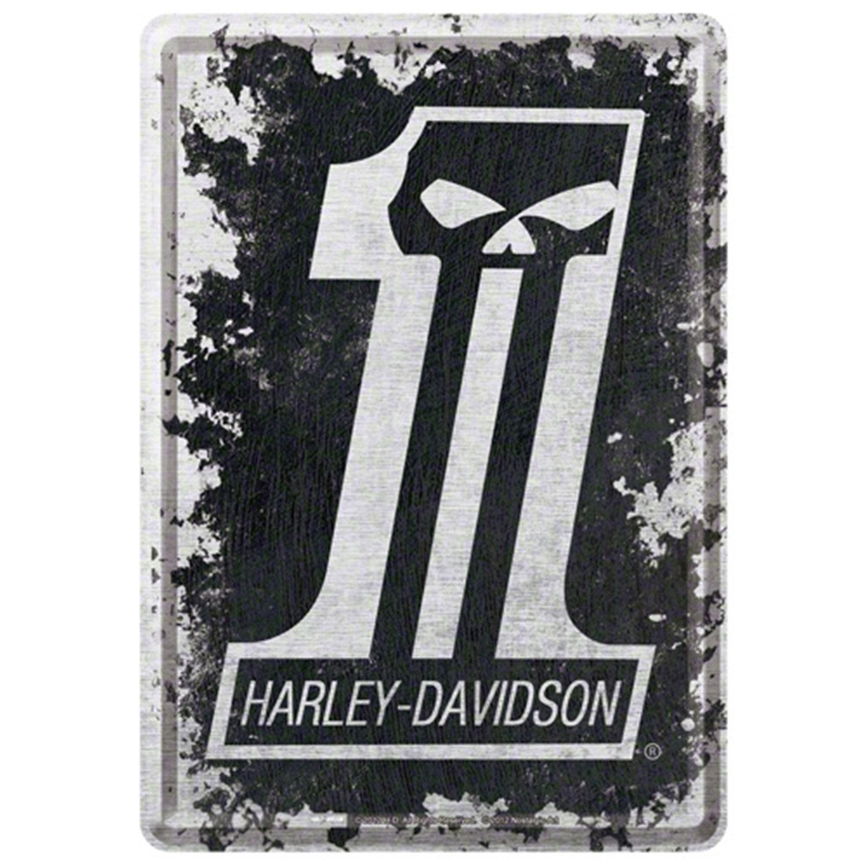 Plaque métal Harley skull l 14 x H 10 cm