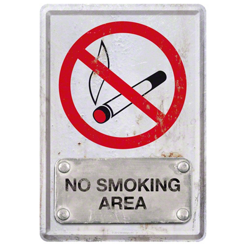 Plaque métal No smoking l 10 x H 14 cm