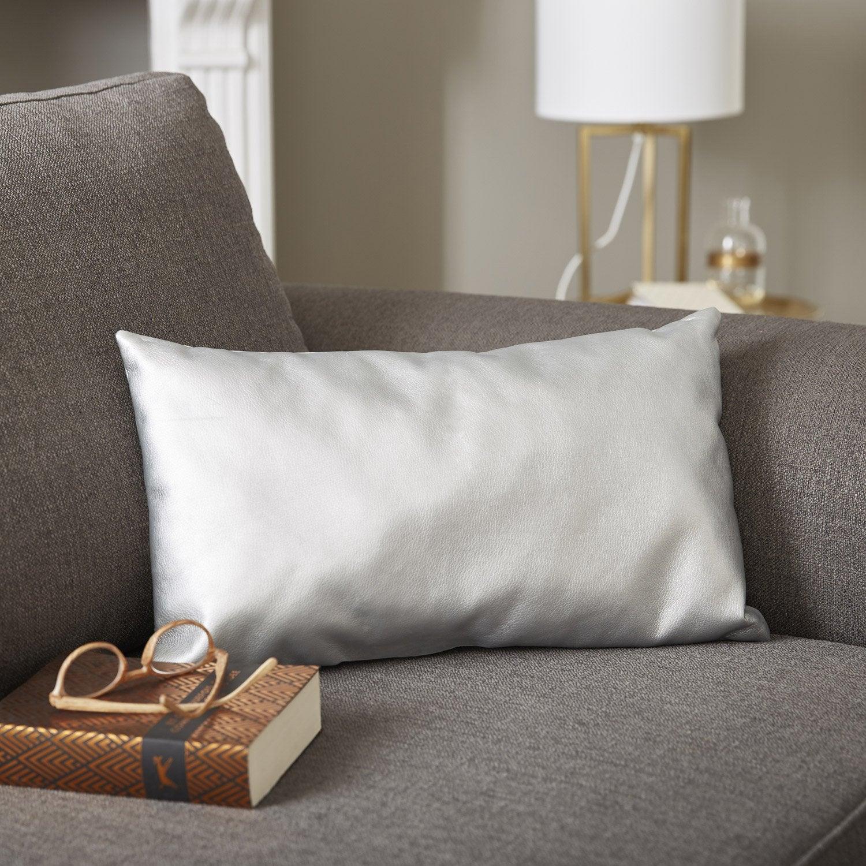 coussin imperm able ekokuir argent x cm leroy merlin. Black Bedroom Furniture Sets. Home Design Ideas