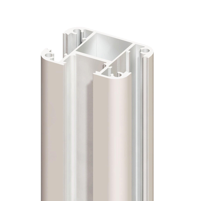 Poteau aluminium rainuré blanc, H230 x l74 x P57 cm