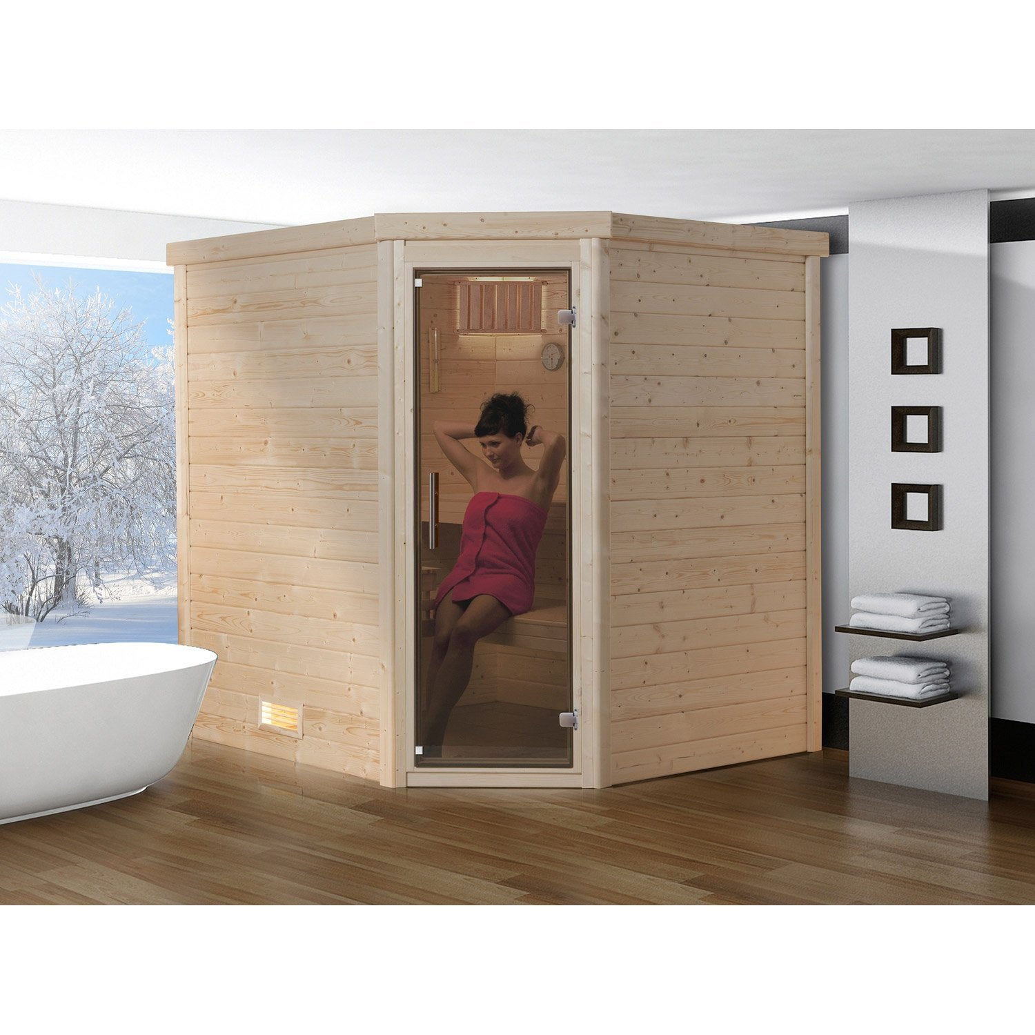 sauna traditionnel 3 places mod le lahti os weka. Black Bedroom Furniture Sets. Home Design Ideas