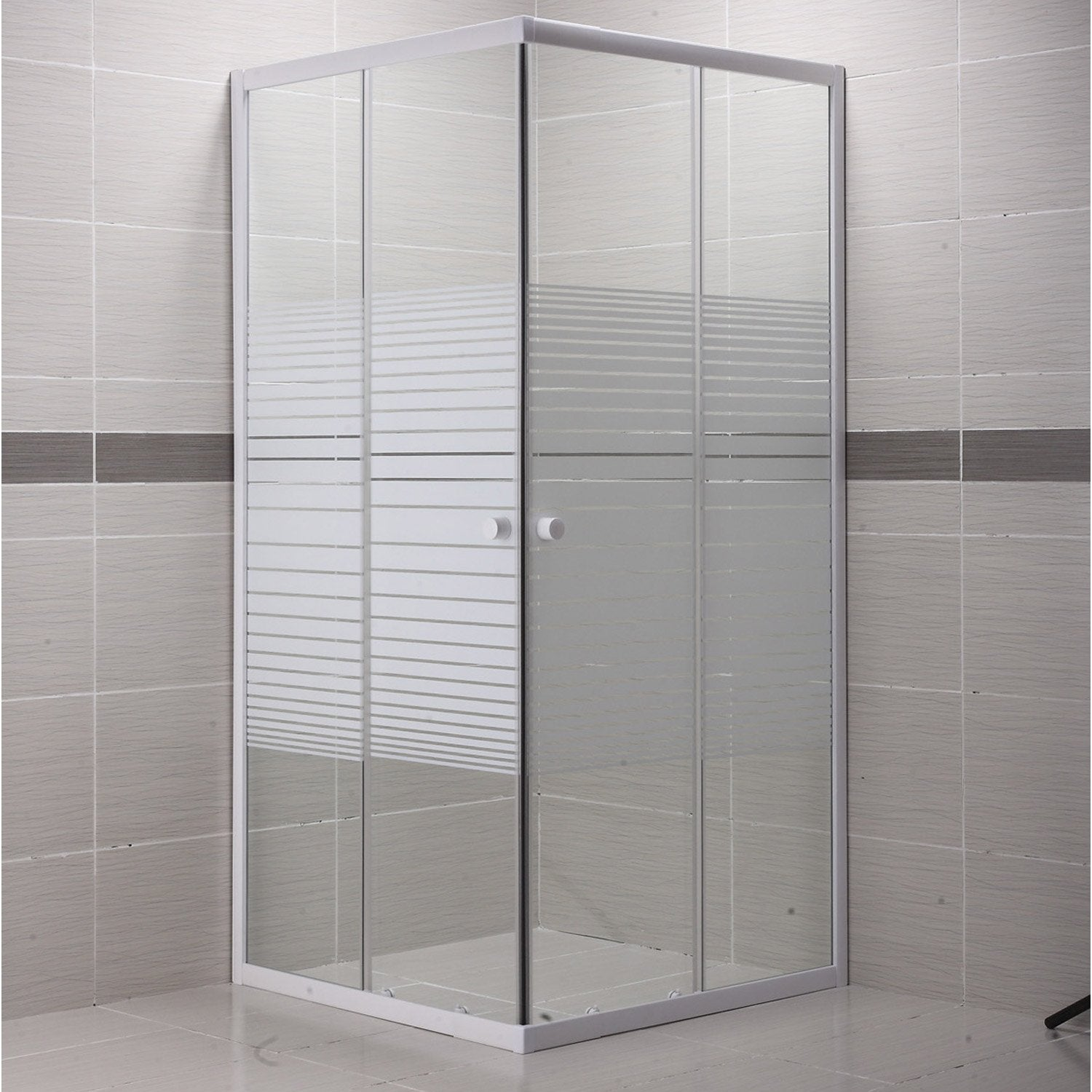 Porte de douche coulissante angle carr x cm for Portes de douches