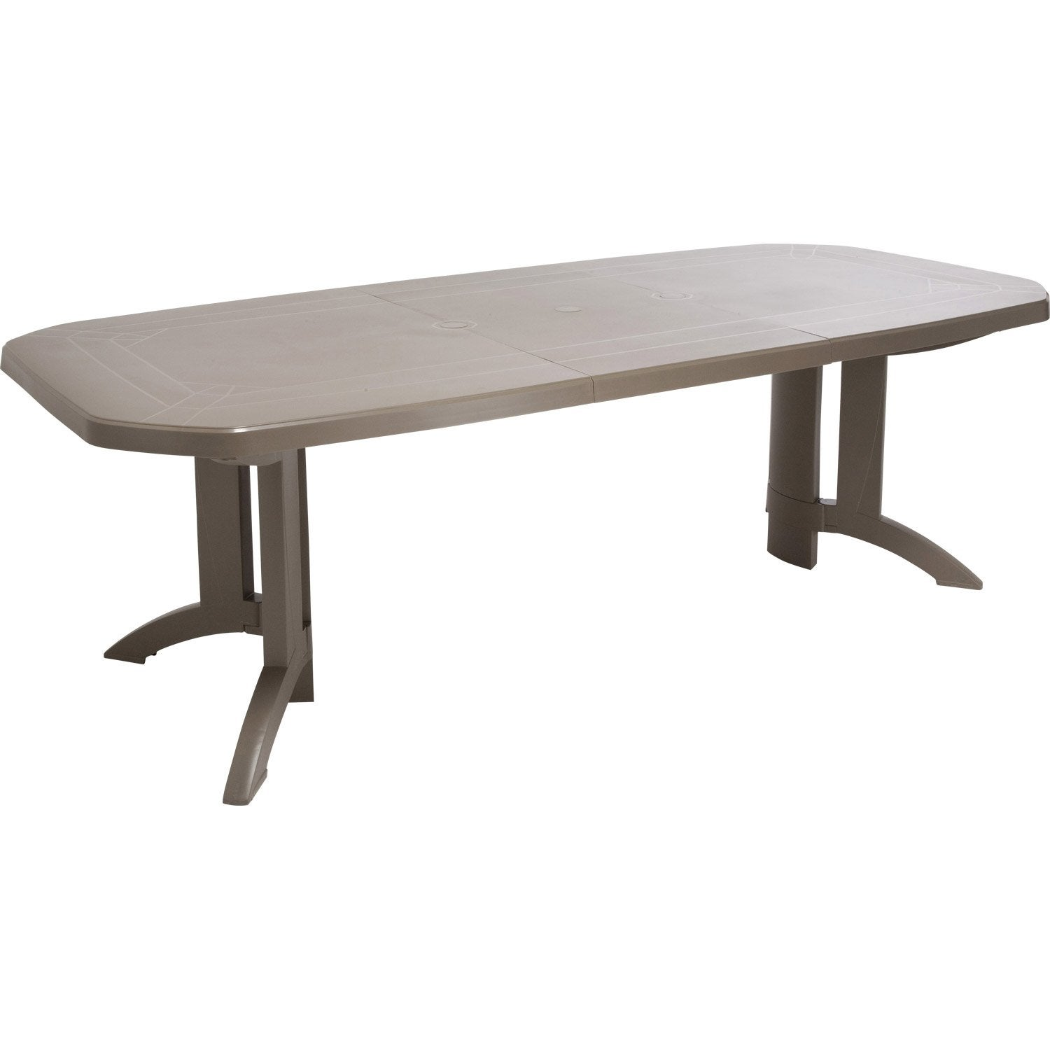 Table de jardin grosfillex v ga rectangulaire taupe 10 personnes leroy merlin - Table de jardin rallonge ...