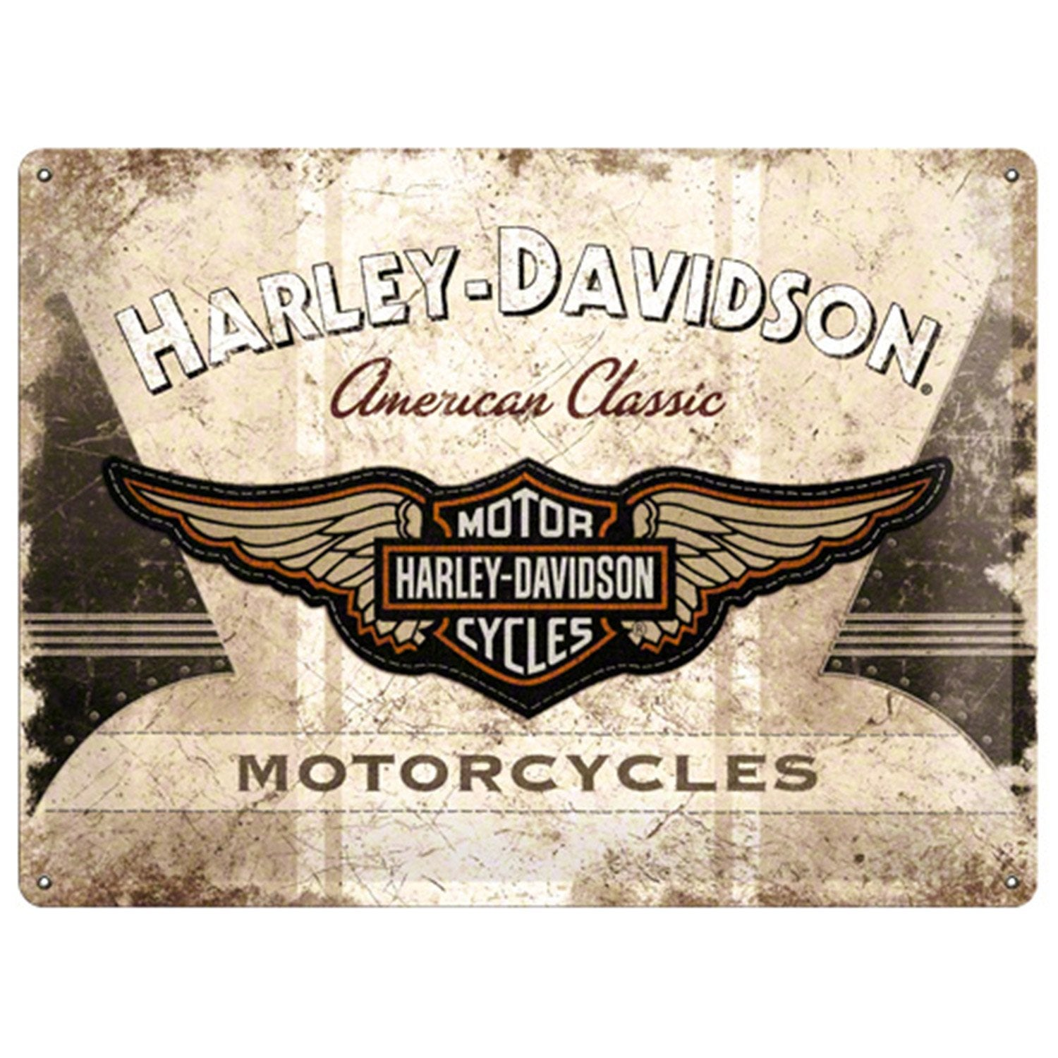 plaque m tal harley logo x cm leroy merlin. Black Bedroom Furniture Sets. Home Design Ideas