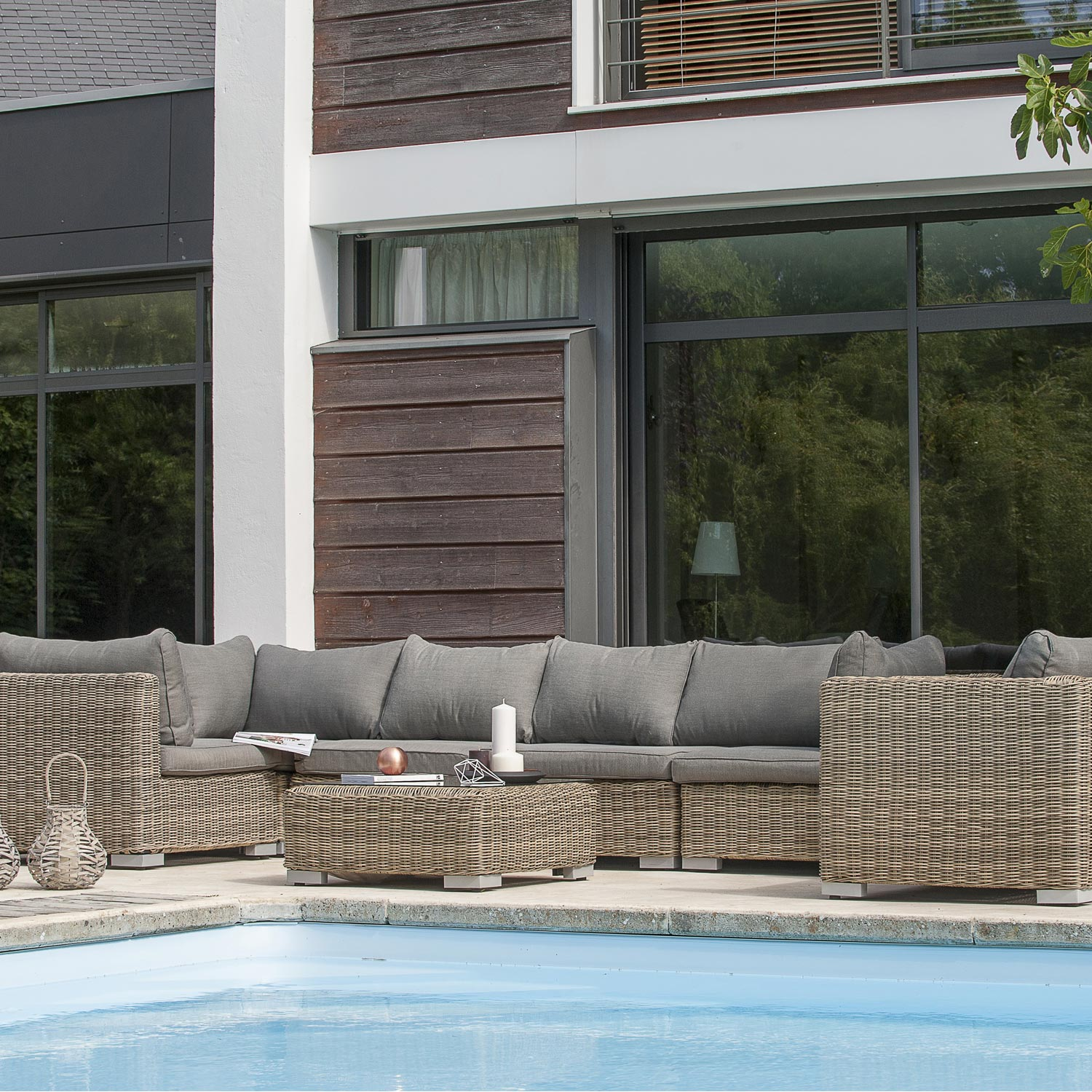 Salon jardin montmartre 1 fauteuil 3modules d 39 angle 2 for Balancines para jardin leroy merlin
