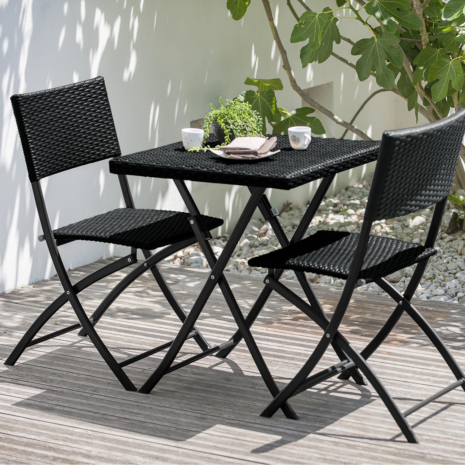 Salon de jardin alice set r sine tress e noir 1 table 2 chaises leroy merlin - Embout pied de chaise leroy merlin ...