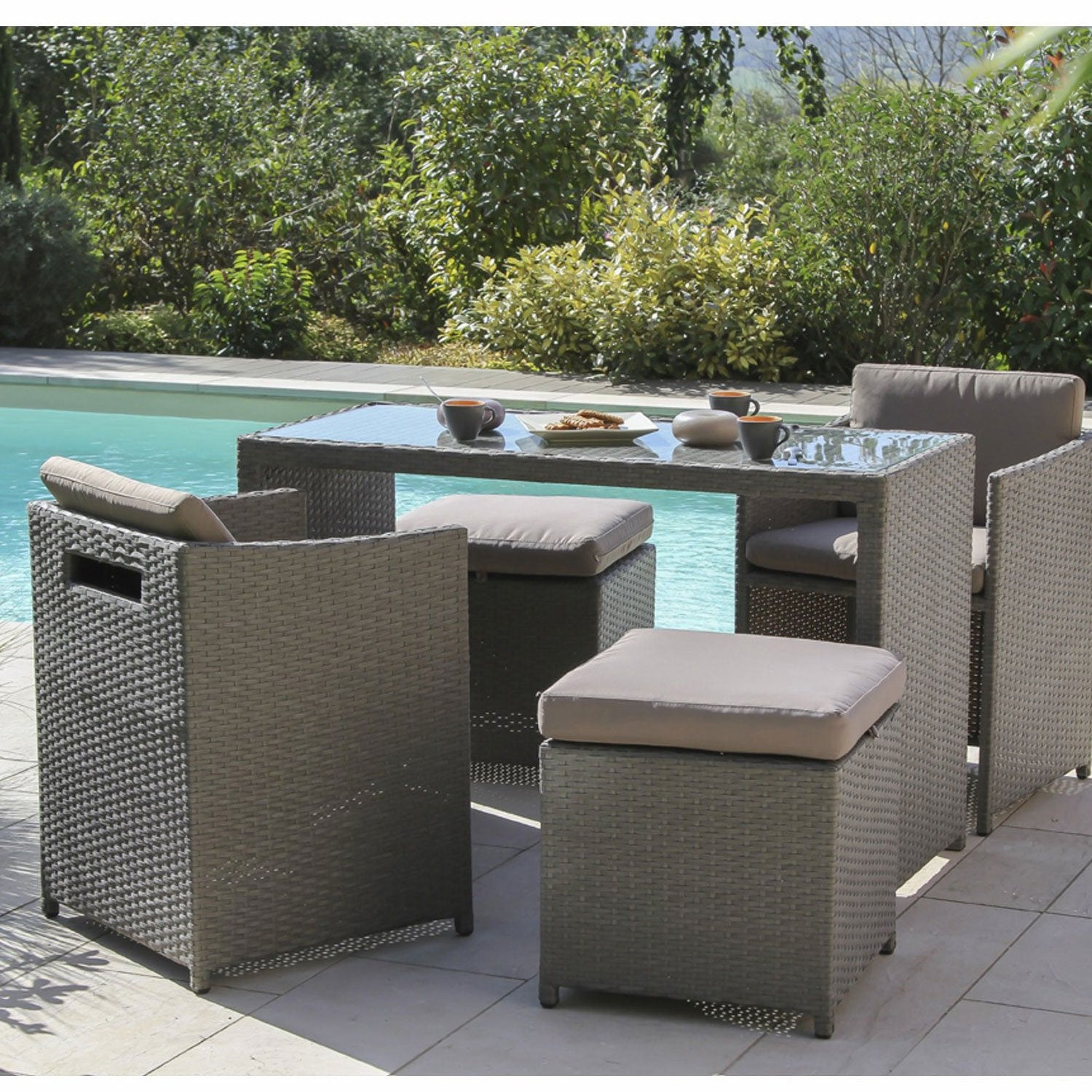 Salon de jardin foggia r sine tress e gris 1 table 2 fauteuils 2 tabourets - Table de jardin tressee ...