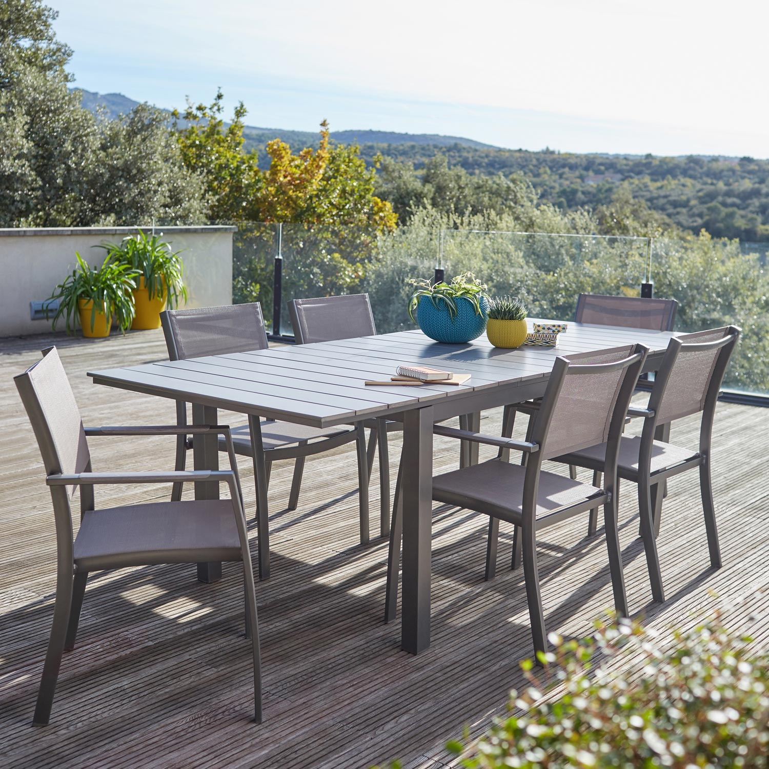 Salon de jardin salerno gris 6 personnes leroy merlin for Banco jardin leroy merlin