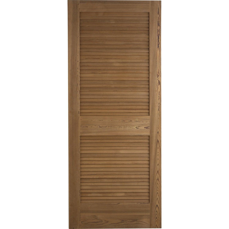 Porte coulissante pin plaqu marron java artens 204 x 73 cm leroy merlin - Porte coulissante pleine ...