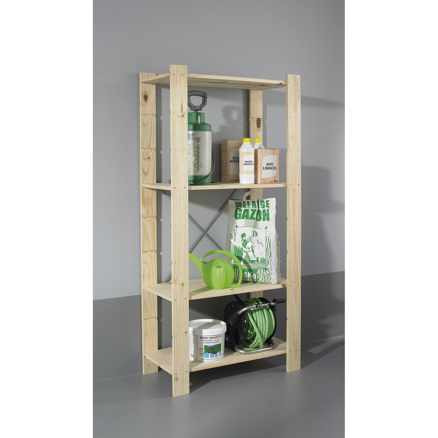 Etag re en pin 4 tablettes mod le spacea l82xh170xp40cm leroy merlin - Etagere bois leroy merlin ...