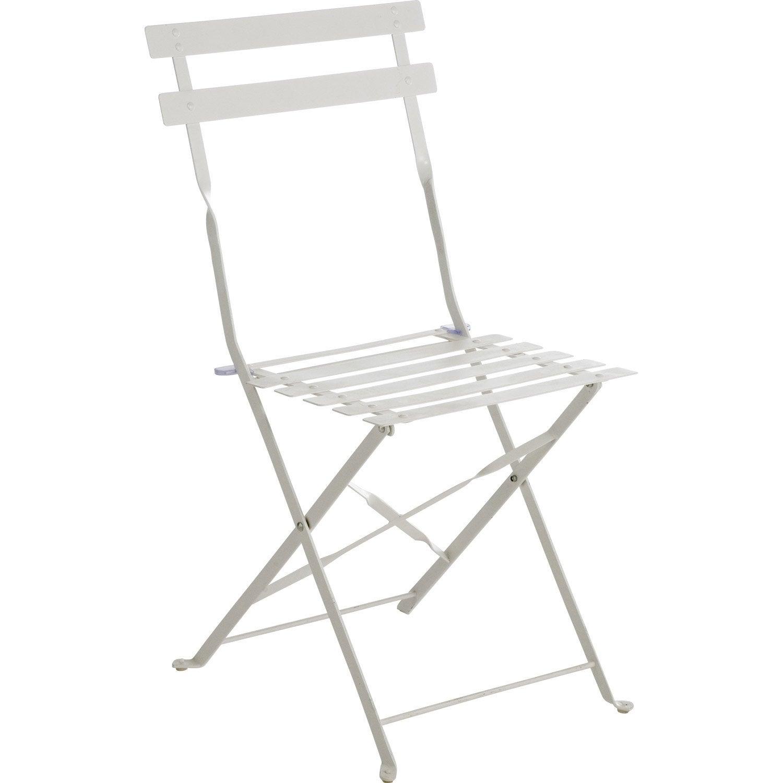 chaise de jardin en acier flore couleur blanc leroy merlin. Black Bedroom Furniture Sets. Home Design Ideas