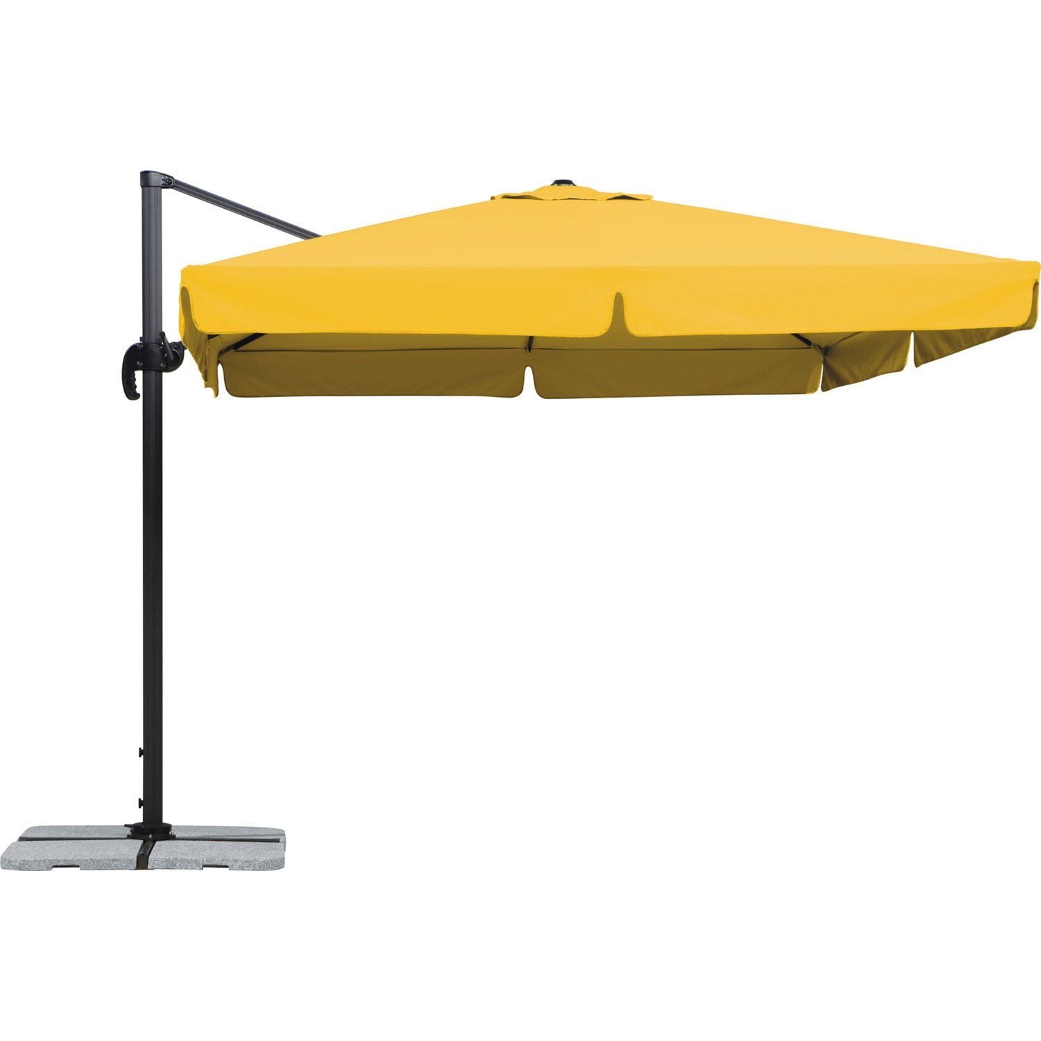 parasol excentr rhodos jaune carr x cm. Black Bedroom Furniture Sets. Home Design Ideas