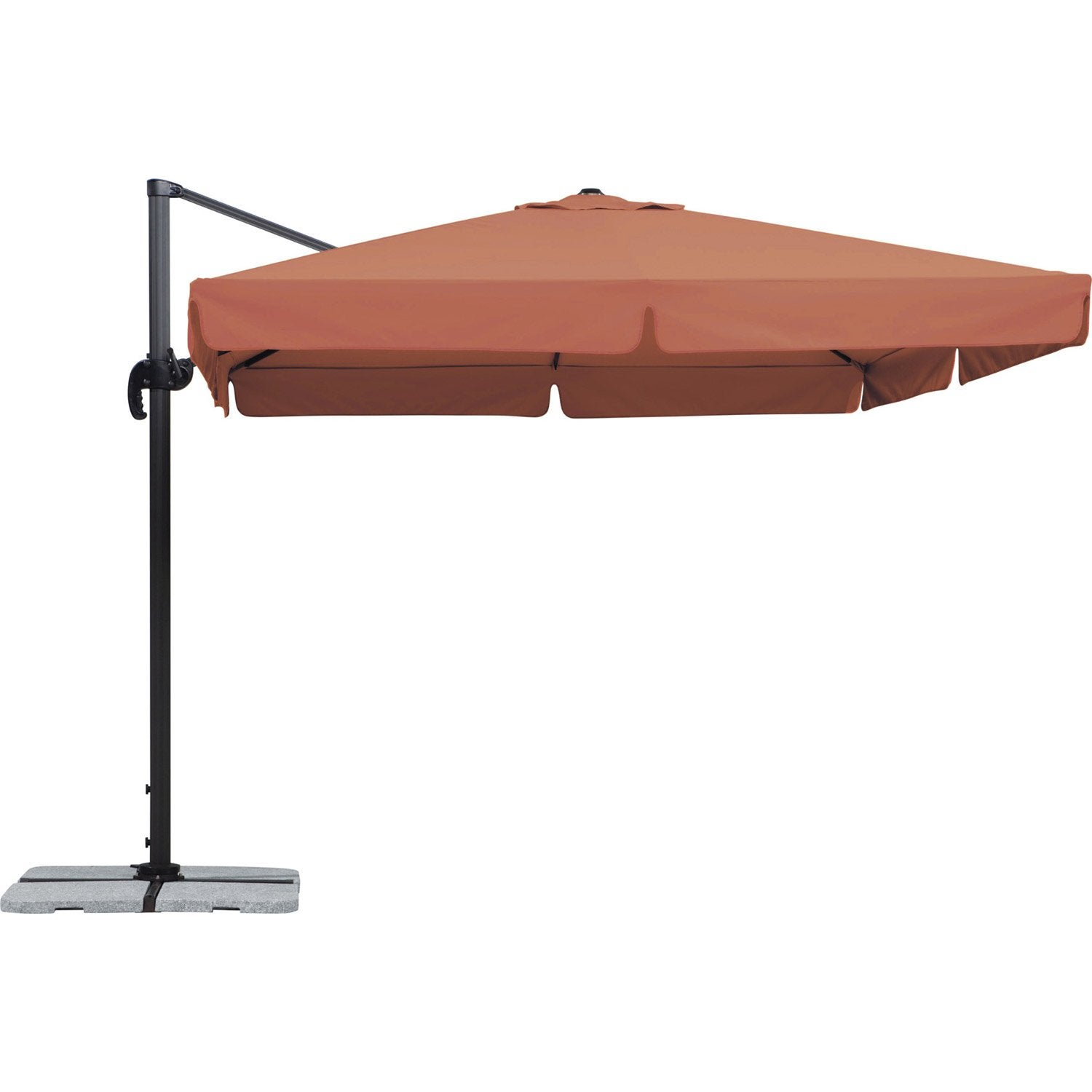 parasol excentr rhodos terracotta carr x cm. Black Bedroom Furniture Sets. Home Design Ideas