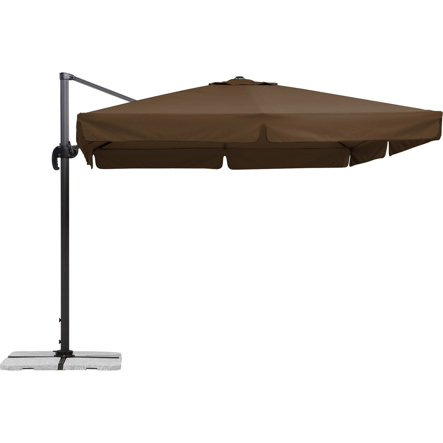 parasol excentr rhodos marron carr x cm. Black Bedroom Furniture Sets. Home Design Ideas