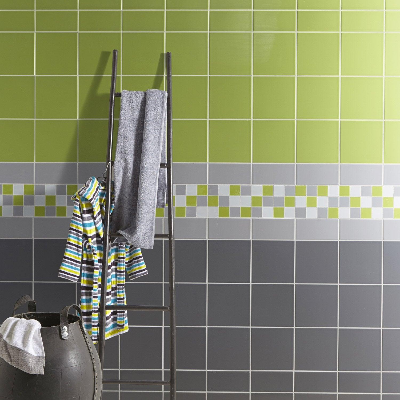 carrelage mural astuce mat en faence vert pistache n5 20 x 20 cm - Faience Vert Et Blanc