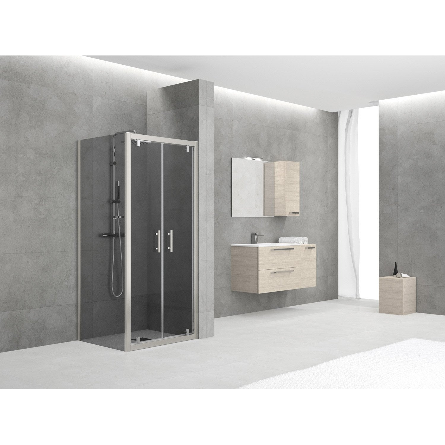 porte de douche battante sensea elyt verre de s curit fum leroy merlin. Black Bedroom Furniture Sets. Home Design Ideas
