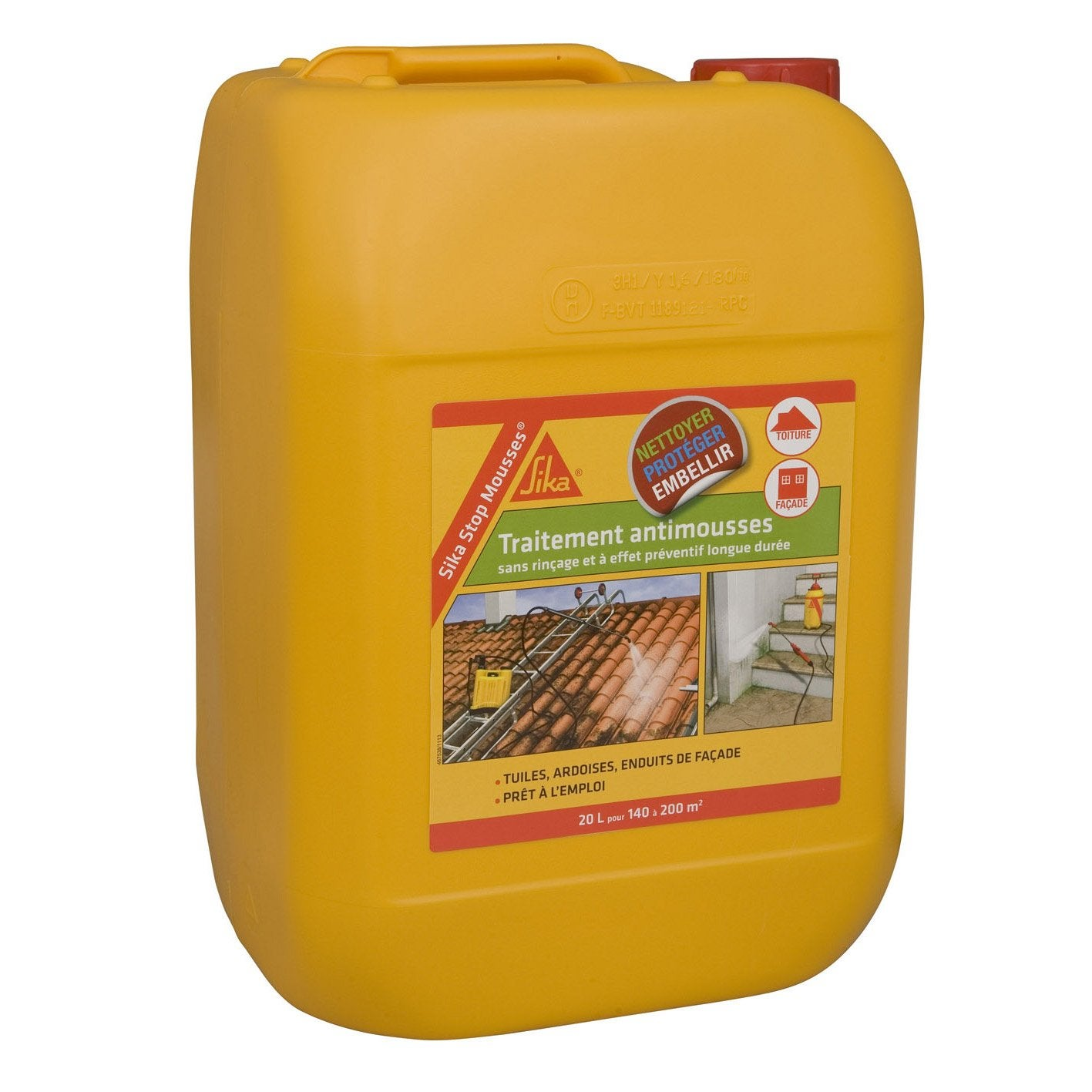 Antimousse sika stop mousses 20 l leroy merlin for Nettoyer mousse sur terrasse