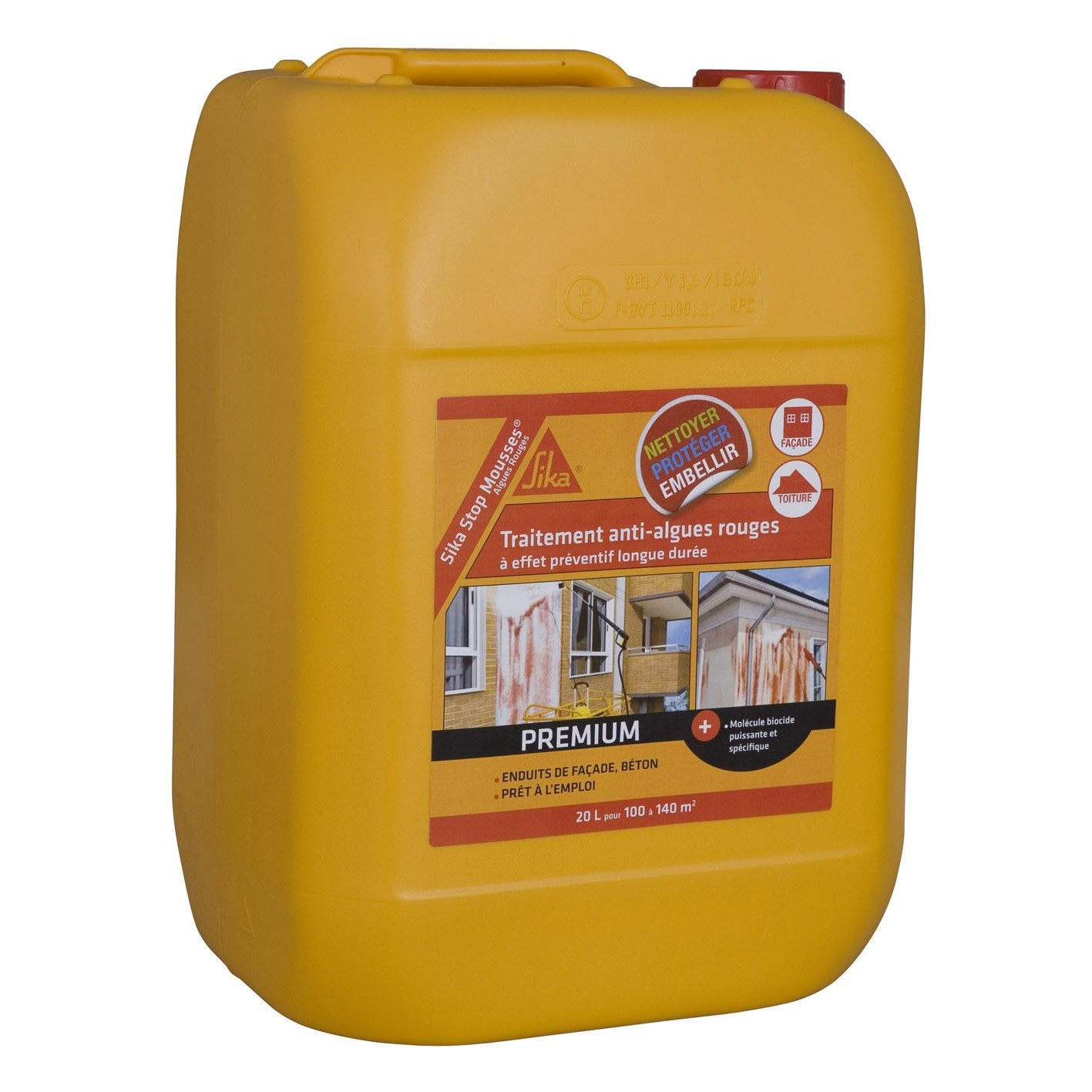 Antimousse sika sp cial antialgues rouges 20 l leroy merlin for Produit anti punaise de lit leroy merlin