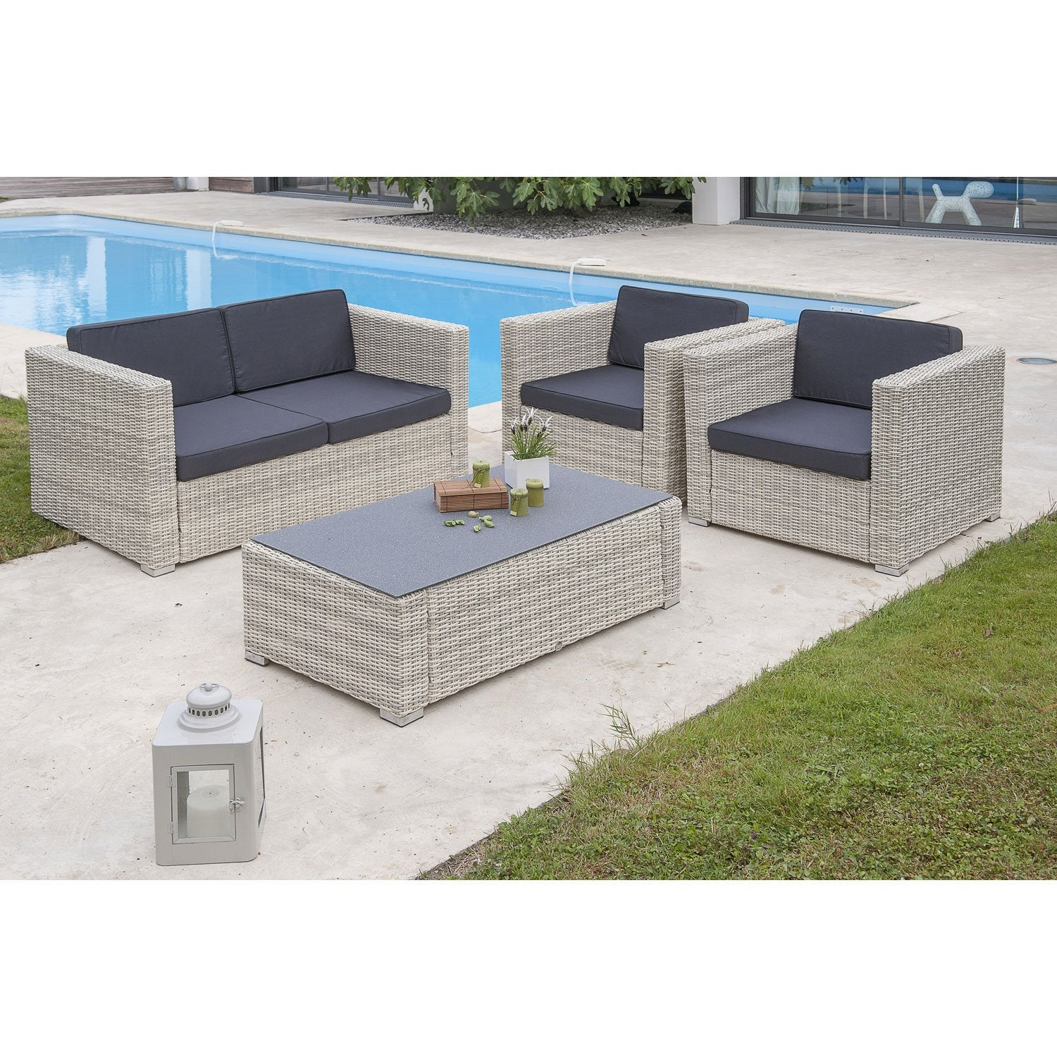 Salon bas de jardin oceane salon r sine tress e blanc table canap 2 fauteuils leroy merlin - Table salon de jardin resine tressee ...