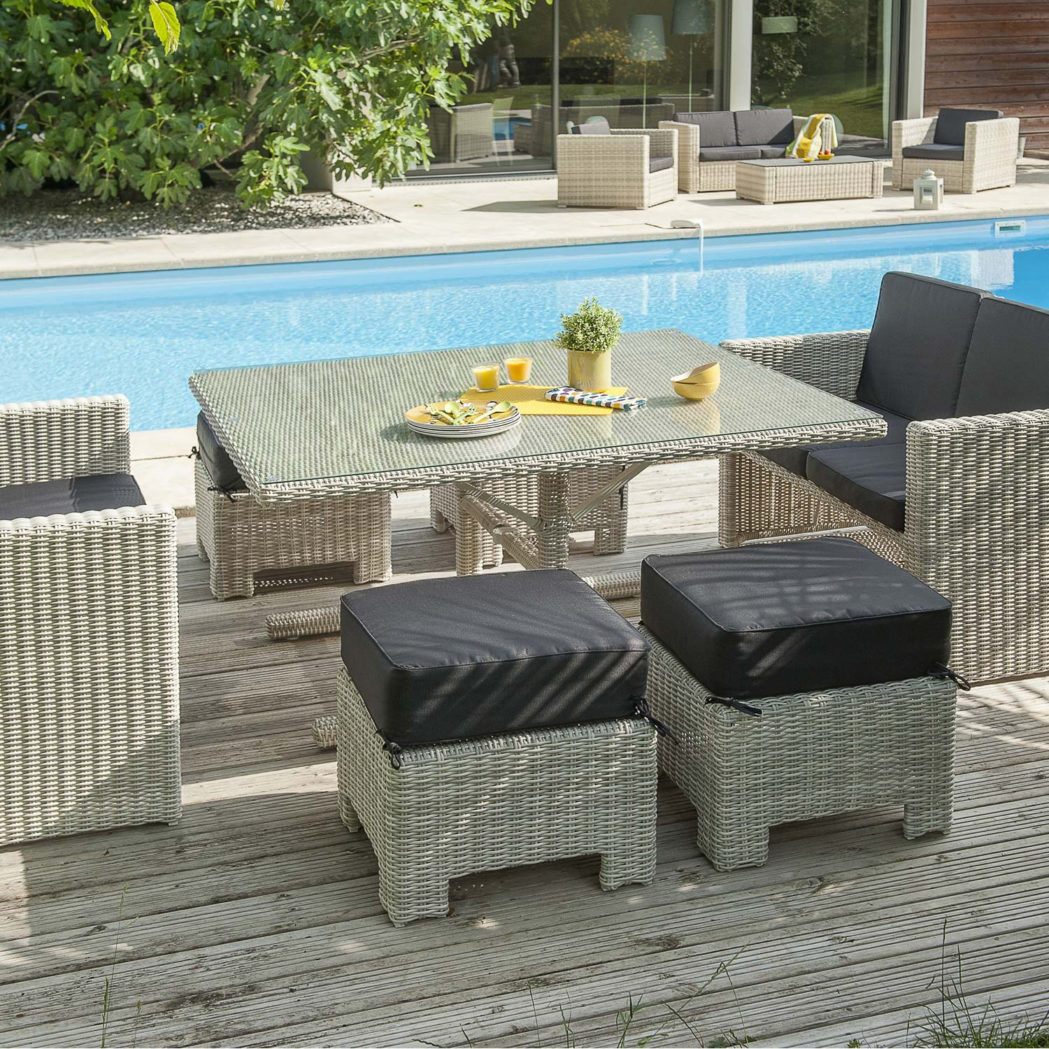 Salon jardin oceane lunch blanc 1 table 2 banquettes 4 poufs leroy merlin - Leroy merlin salon jardin ...