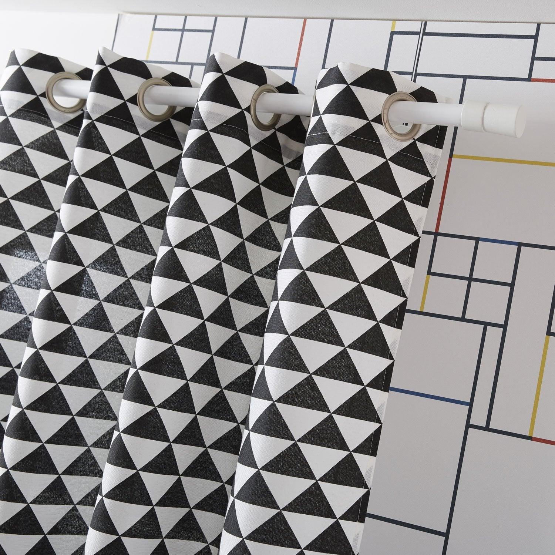 Rideau tamisant geometrico blanc noir x cm leroy merlin - Double rideau occultant leroy merlin ...