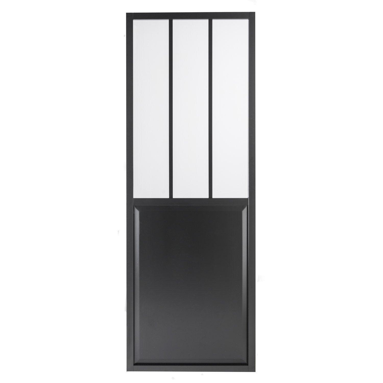 Porte coulissante laqu e noir atelier verre clair artens for Epaisseur porte coulissante