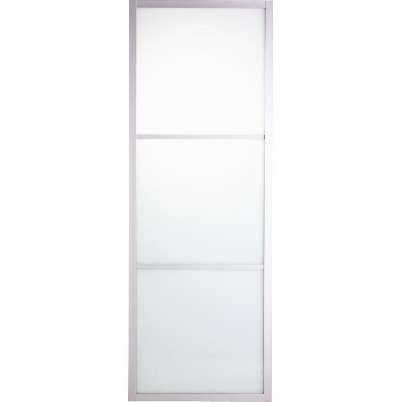 Porte coulissante aluminium aspen blanc blanc n 0 artens for Porte 63 cm coulissante