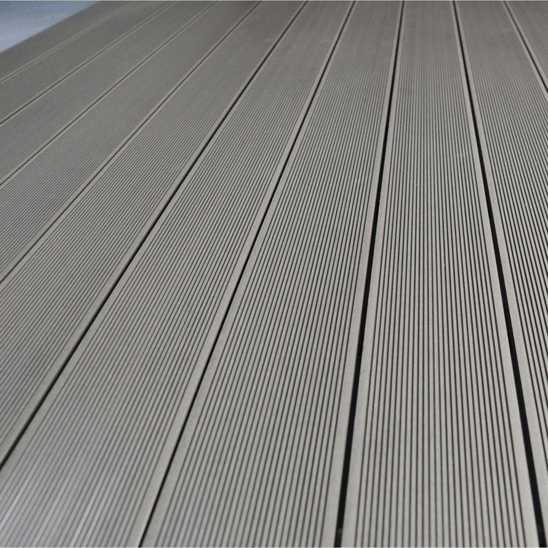 Planche primo en composite gris l 300 x l 14 5 cm x ep 21 for Terrasse bois composite leroy merlin