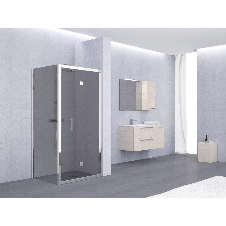 Porte de douche pliante 90 96 cm profile chrome elyt for Porte douche pliante 90