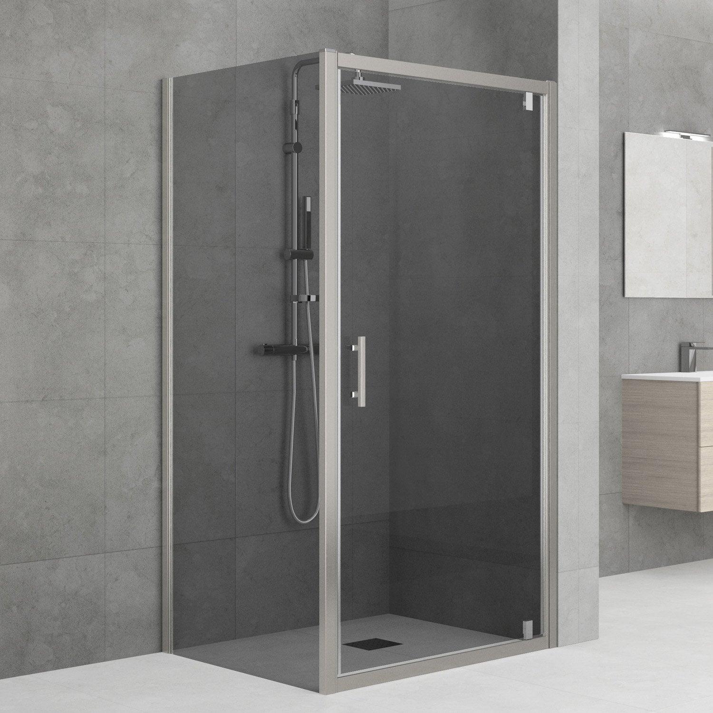 Porte de douche pivotante 90 96 cm profil chrom elyt for Porte de douche 90