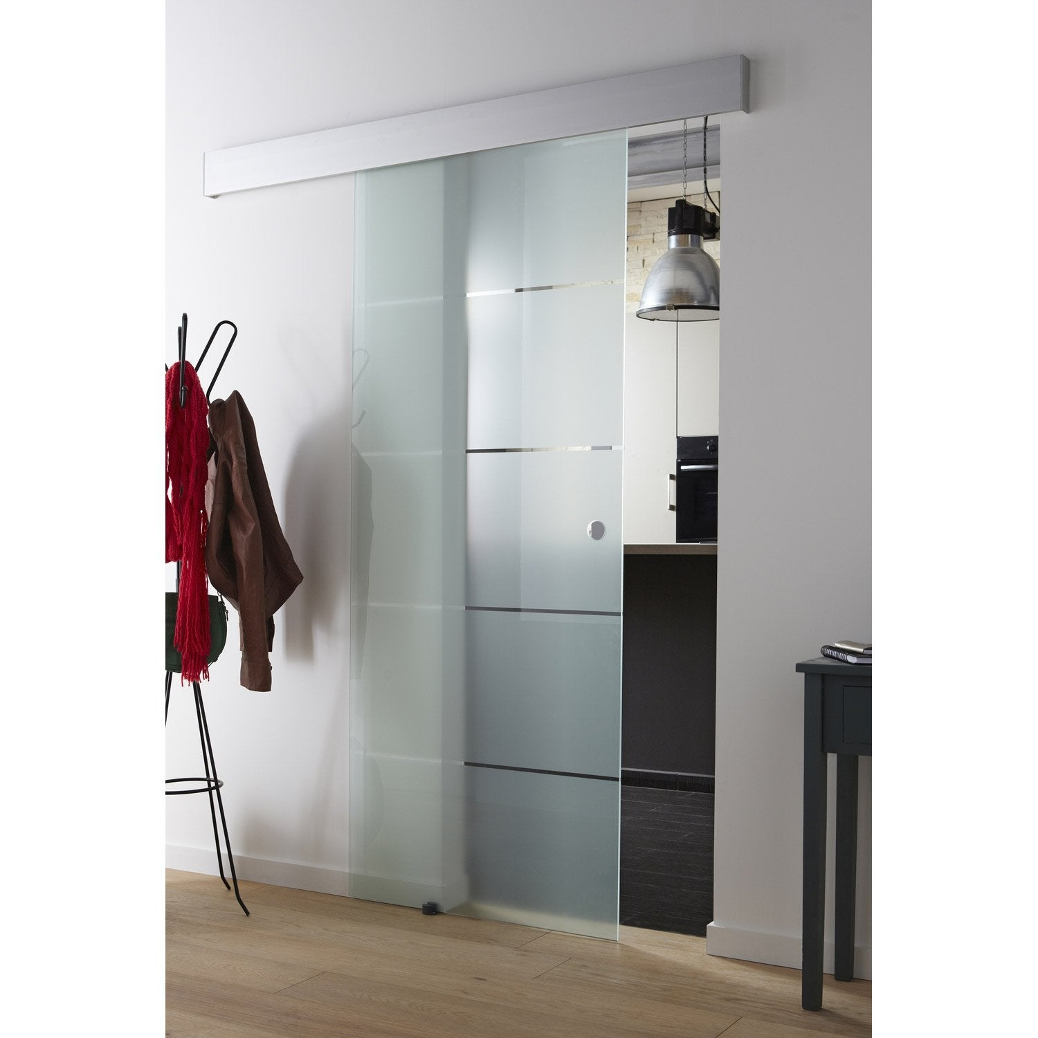 Porte coulissante verre tremp floride artens 204 x 73 cm for Porte interno leroy merlin