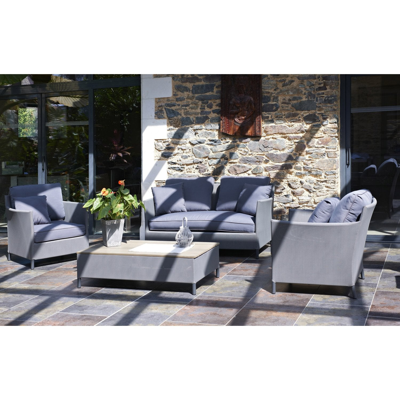 Salon jardin Riade textilène gris 1 banquette, 2 fauteuils, 1 ...