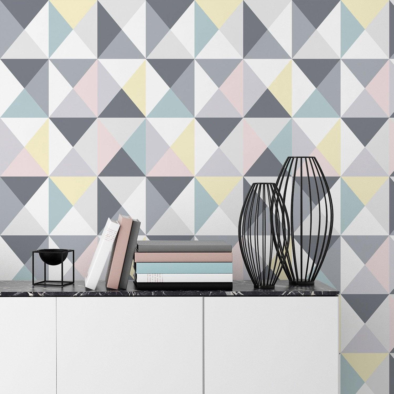 papier peint papier polygone multicolor leroy merlin. Black Bedroom Furniture Sets. Home Design Ideas