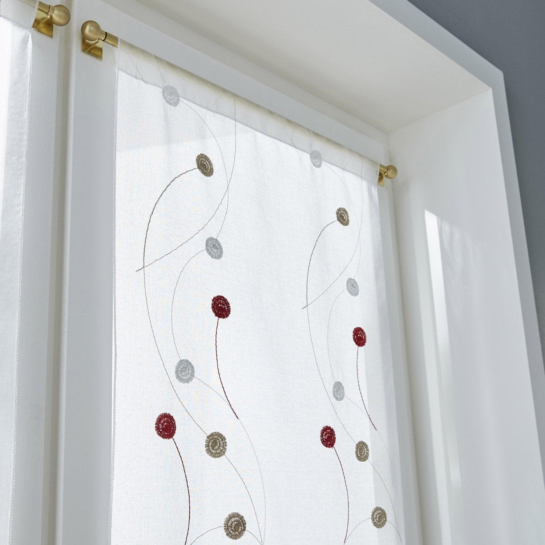 vitrage tamisant orion rouge ivoire x cm leroy merlin. Black Bedroom Furniture Sets. Home Design Ideas