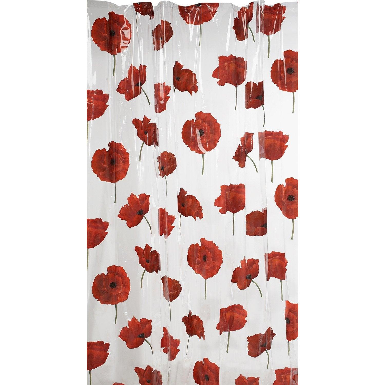 Rideau de douche en plastique pavot sensea rouge 180 x - Nettoyer rideau de douche plastique ...