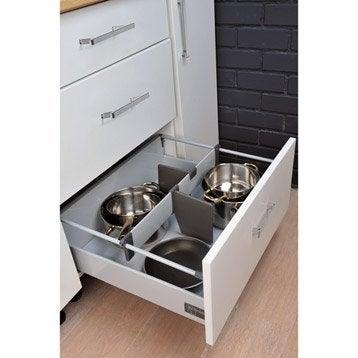 Kit accessoires casserolier gris anthracite largeur 55 2 for Casserolier leroy merlin