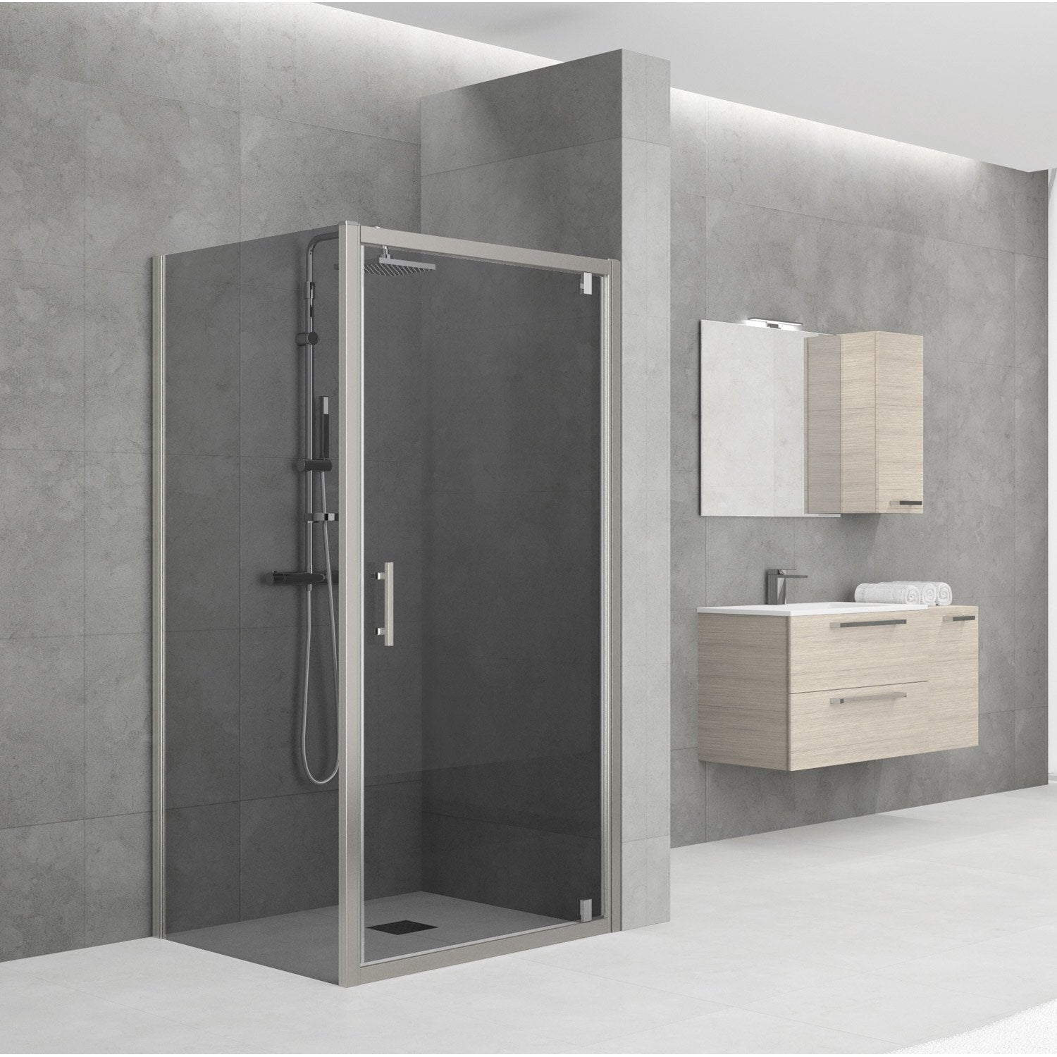 porte de douche pivotante 78 84 cm profil chrom elyt. Black Bedroom Furniture Sets. Home Design Ideas