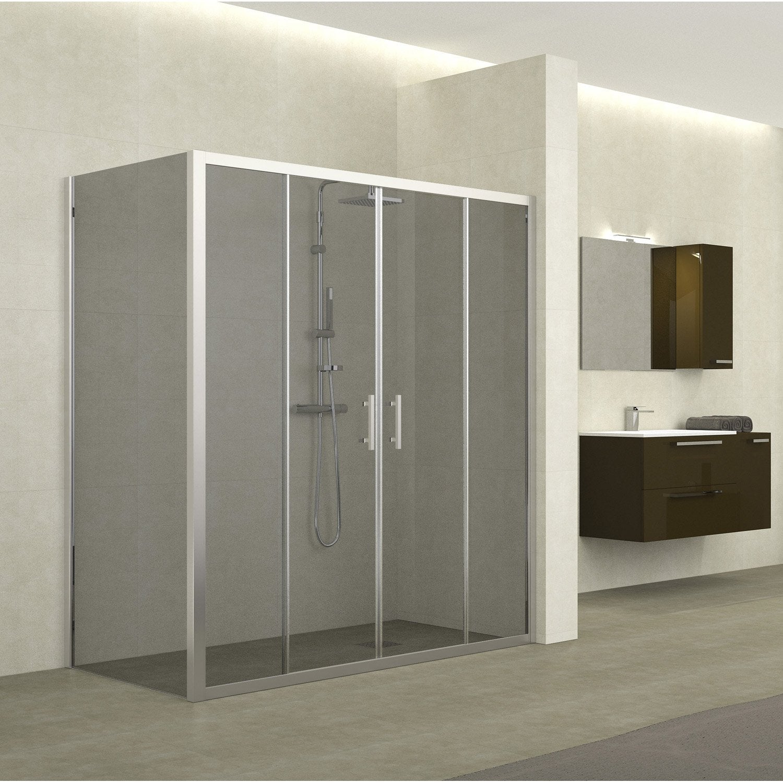 porte de douche coulissante 176 182 cm profil chrom. Black Bedroom Furniture Sets. Home Design Ideas
