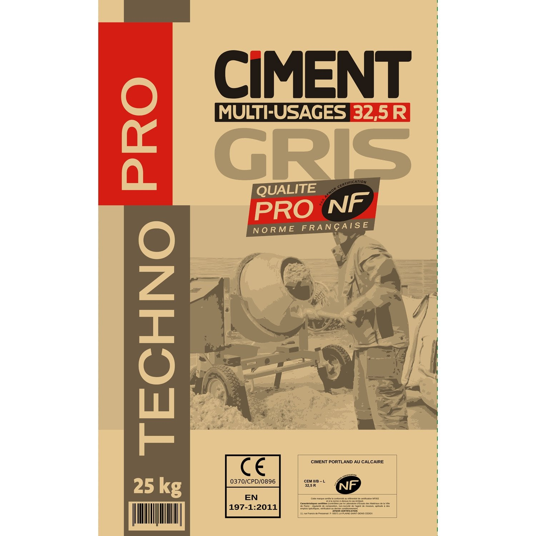 ciment gris 32 5 r nf technopro technopro 25 kg leroy. Black Bedroom Furniture Sets. Home Design Ideas