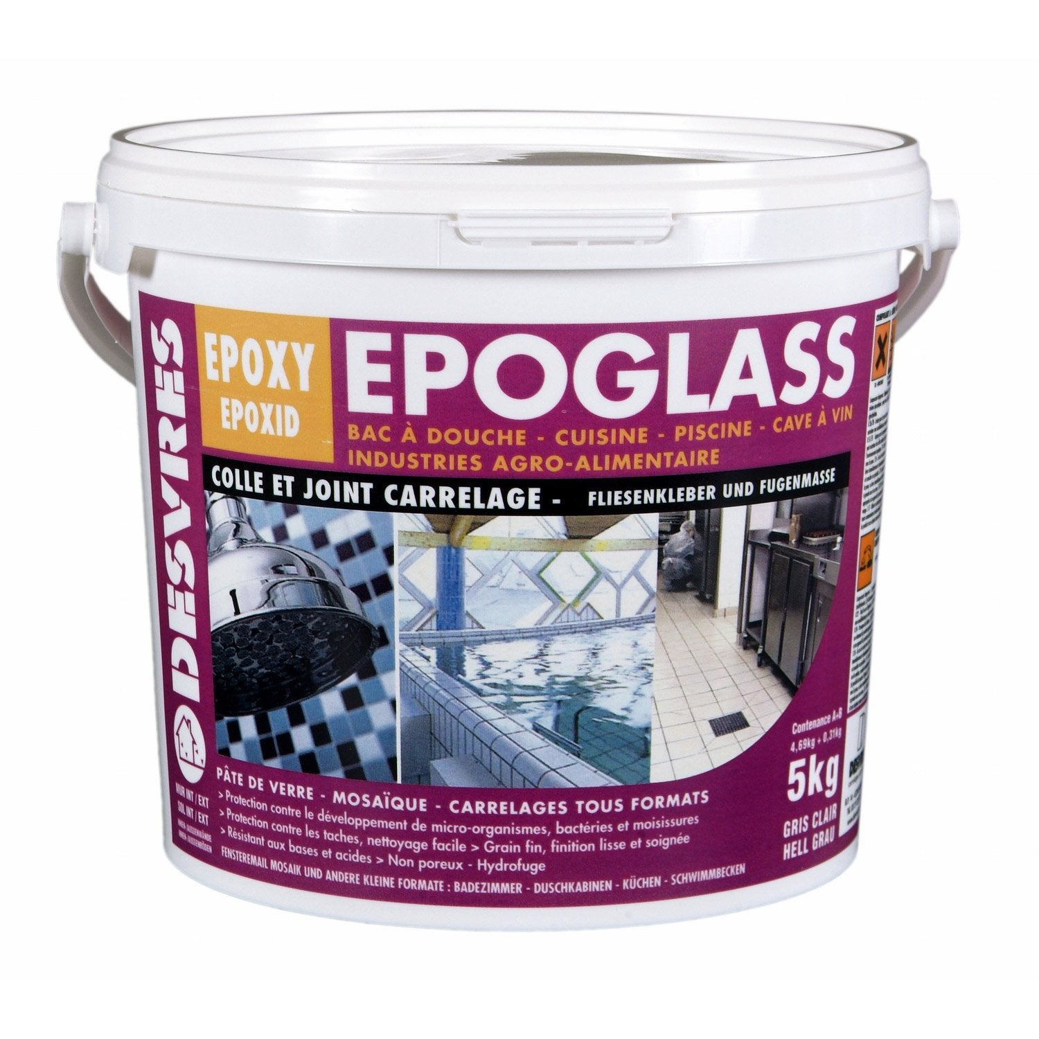 Colle et joint epoxy epoglass pour carrelage et mosa que for Colle carrelage exterieur leroy merlin