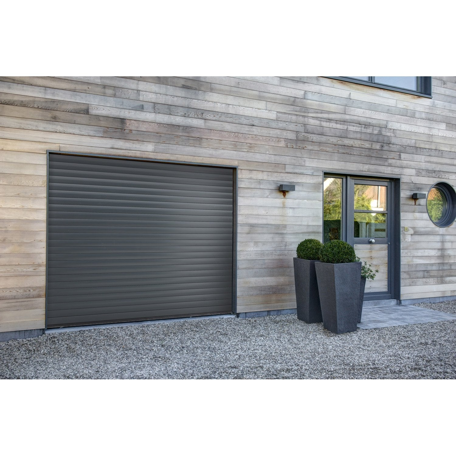 porte de garage enroulement excellence motoris e aluminium gris 200x240cm leroy merlin. Black Bedroom Furniture Sets. Home Design Ideas